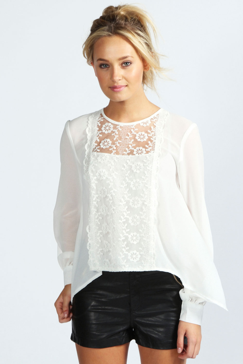 boohoo Rosie Lace Panel Open Back Blouse - ivory product image