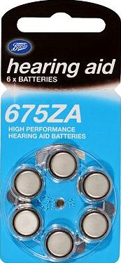 Boots batteries, 2041[^]10050305 Boots Hearing Aid Batteries - Size 675 - 6 Pack