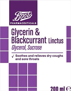 Boots Pharmaceuticals, 2041[^]10006468 Boots Glycerin and Blackcurrant Linctus - 200ml