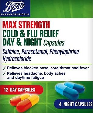 Boots Pharmaceuticals, 2041[^]10081085 Boots Max Strength Cold and Flu Day and Night