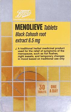 Boots Pharmaceuticals, 2041[^]10086726 Boots Menolieve Black Cohosh root extract 6.5mg