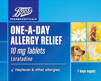 Boots Pharmaceuticals, 2041[^]10052606 Boots one-a-day allergy relief 10mg tablets (7