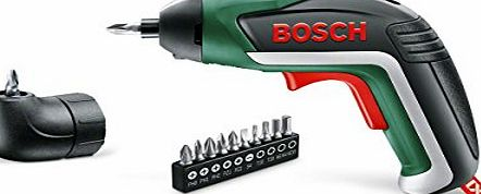 Bosch IXO Cordless Lithium-Ion Screwdriver with Right Angle Adapter, 3.6 V Battery 1.5 Ah - Black/Green/Red