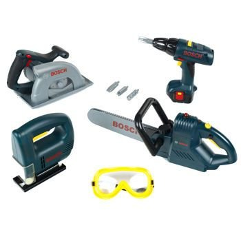 Bosch Mini 8 Pc Power Tool Set Kit Boys Toys Drill Chainsaw Jigsaw 3+ product image