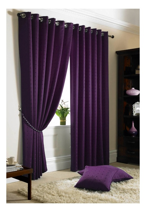 Purple Eyelet Lined Curtains