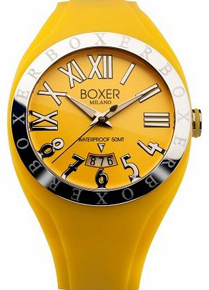 Boxer Milano Unisex Quartz Watch with Yellow Dial Analogue Display and Yellow Rubber Strap BOX 40 YW product image