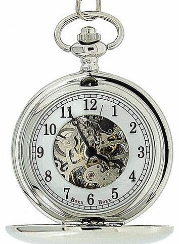 Mens Silver Tone Skeleton Mechanical Pocket Watch 12 Chain Boxx244