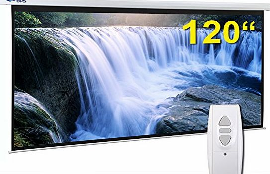 BPS Electric Motorised 120`` 16:9 Projector Screen Full HD/3D Matt White   Remote Control TV DVD Home Cinema
