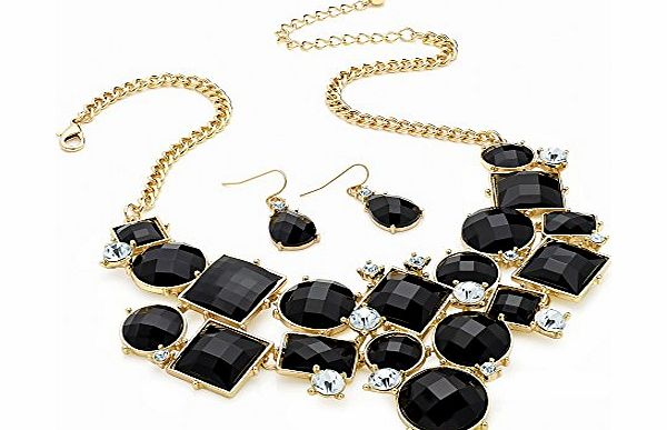 BR Ladies Womens Girls Fashion Costume Gold Colour Crystal Black Bead Chain Necklace And Earring Set. product image