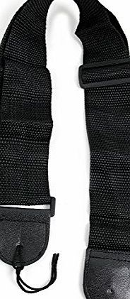 Bray Music Pure Black Guitar Strap For Gibson, Ibanez, Tanglewood, Yamaha amp; Fender Acoustic Guitars With Adjustible Buckle