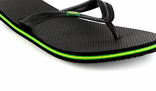 Brazilian Flip Mens Brazil Logo Beach Summer Brasil Holiday Sandals Flip Flops - Black - UK10/EU44 - ZUKCD0039