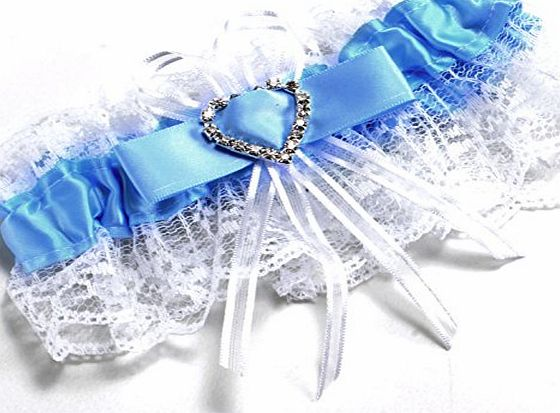 Bride Boutique Wedding Hen Party Bride To Be Satin amp; Lace Bridal Garter - Blue