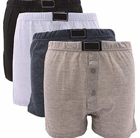 Britwear 6 x BRITWEAR® Mens Button Fly Jersey Boxer Shorts Natural Cotton Rich Boxers UnderwearColour:Dark Assorted (Plain) Underwear Size:Large