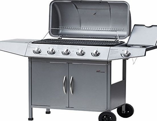 broil-master® BBQG10EUsilver BBQ Gas Grill for a Barbecue Dining Pleasure - 5 Main and 1 Subsidiary Burner (Silver) (Construction-tested by TÜV Rheinland)