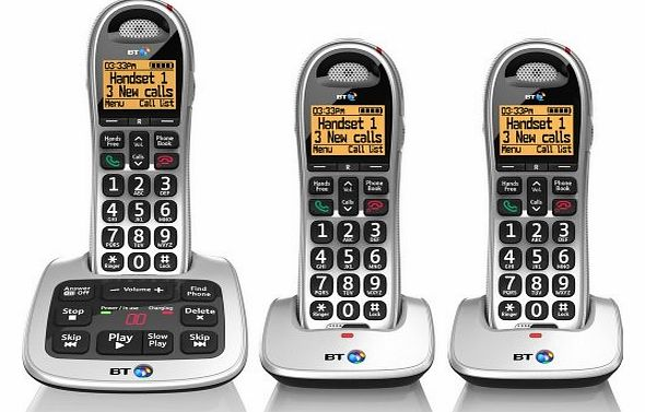 4500 Cordless Big Button Phone with Answer Machine and Nuisance Call Blocker (Pack of 3)