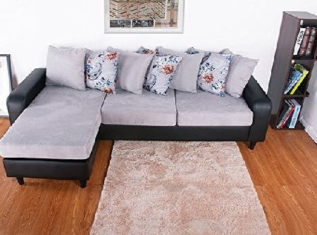 BTM Brand New Right or Left Corner Group Sofa Suit Black and Charcoal Leather Fabric Sofa Cushion Settee With a Large Footstool
