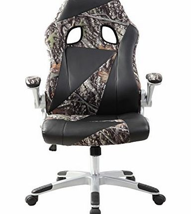 BTM Exclusive Cool Gaming Swivel Office Chair Sport Camo Racer Chair Black Ergonomic Tilt Function Leather Padded Chair (Pink)