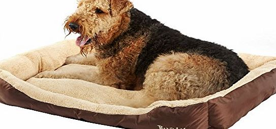 Bunty Deluxe Soft Washable Dog Pet Warm Basket Bed Cushion with Fleece Lining - Brown XX-Large