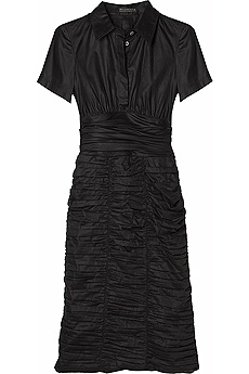 Black cotton shirt dress with ruched skirt. - CLICK FOR MORE INFORMATION