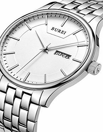 BUREI Mens Quartz Wrist Watches with Day and Date Calendar Stainless Steel Bracelet
