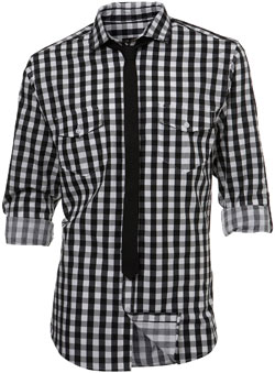 Roll sleeve black large gingham utility style shirt with a plain black skinny tie.Garment Information* 100% CottonWash Care* Wash light colours separately* Do not tumble dry* Machine washable. Save energy. Wash at 30 degrees - CLICK FOR MORE INFORMATION