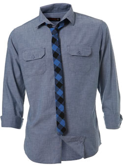 Roll sleeve light blue chambray shirt with a blue and black check skinny tie.Garment Information* 100% CottonWash Care* Machine washable - CLICK FOR MORE INFORMATION