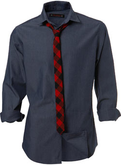 Roll sleeve dark blue chambray shirt with a red and black check skinny tie.Garment Information* 100% CottonWash Care* Machine washable - CLICK FOR MORE INFORMATION