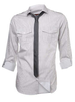 Burton Grey Twinstripe Fitted Shirt and Tie