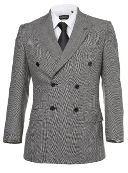 Light Grey Double Breasted Prince Of Wales Jacket Contemporary slim