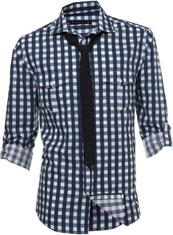 Roll sleeve navy large gingham utility style shirt with a plain black skinny tie.Garment Information* 100% CottonWash Care* Wash light colours separately* Do not tumble dry* Machine washable. Save energy. Wash at 30 degrees - CLICK FOR MORE INFORMATION