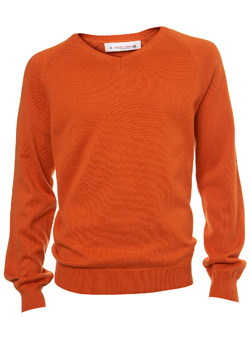Burton Orange Plain V-Neck Jumper