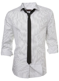 Burton White and Black Stripe Fitted Shirt and Tie