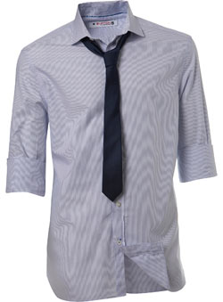 Roll sleeve white and blue finestripe shirt with a plain navy skinny tie.Garment Information* 100% CottonWash Care* Machine washable - CLICK FOR MORE INFORMATION
