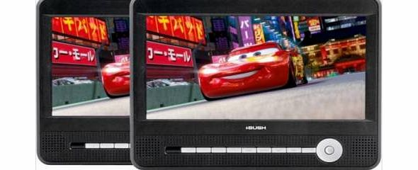 CCE90W13DUO 9`` LCD 2 Movies at once! Twin Dual Screen portable in car DVD Players - Black