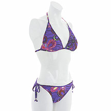 Purple printed triangle bikini top