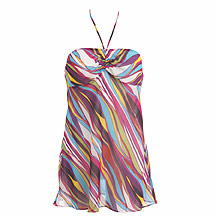 Purple striped babydoll halterneck top