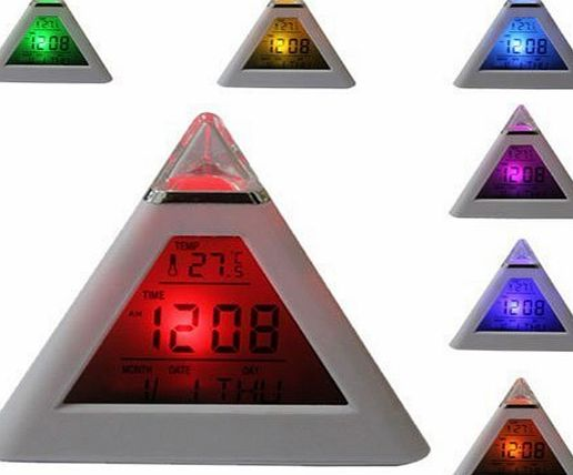 BZ Simple Digital Alarm Clock 7 LED Color Change Pyramid with Temperature, Alarm and Sleeping Function