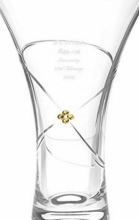 C.P.M. Large Infinity Vase with Gold Crystal Elements Gifts, and, Cards Anniversary, Gift, Idea Occasion, Gift, Idea Personalised