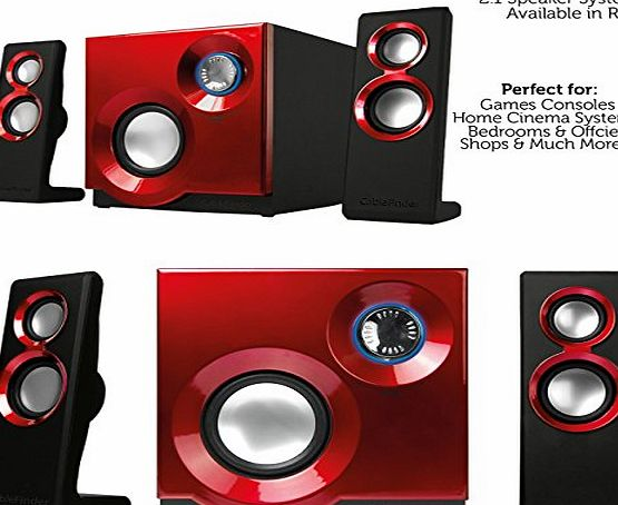 Cablefinder QUALITY 2.1 Compact Surround Sound Gaming Speaker System. Perfect for TVs, Laptops, iPhones, PC, Games Consoles amp; More