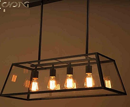 CAC General Iron Art Nouveau Loft Glass Chandelier Pendant Light Rectangular Chassis Restaurant Creative Living Room Lights Coffee Shop Black Glass Chandelier Pendant Light Pendant Light Personality