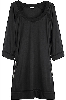 Black jersey A-line dress with exposed zipper pockets on the front. - CLICK FOR MORE INFORMATION