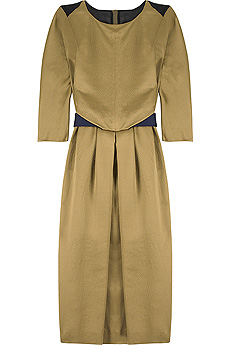 Matte gold to-the-knee shift dress with a blue belt detail. - CLICK FOR MORE INFORMATION