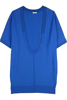Bright blue deep slouch scoop neck wool and cashmere blend sweater with short sleeves. - CLICK FOR MORE INFORMATION