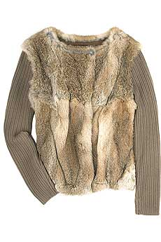 Natural brown double-breasted lapin gilet with ribbed woolen sleeves. - CLICK FOR MORE INFORMATION