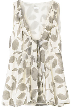 Ivory silk leaf print V-neck top with pleated panel on front. - CLICK FOR MORE INFORMATION