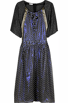 Multi-colored aspirin dot silk chiffon dress with visible iridescent lining and jewel embellished ne - CLICK FOR MORE INFORMATION