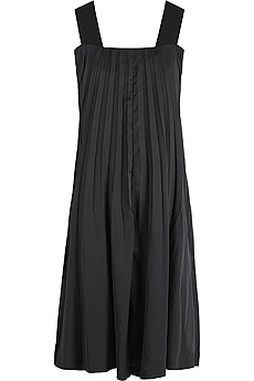 Black sleeveless satin pleat front trapeze dress. - CLICK FOR MORE INFORMATION
