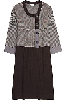 Brown-and-fawn horizontal striped sweater dress with a solid ribbed trim and block color skirt. - CLICK FOR MORE INFORMATION