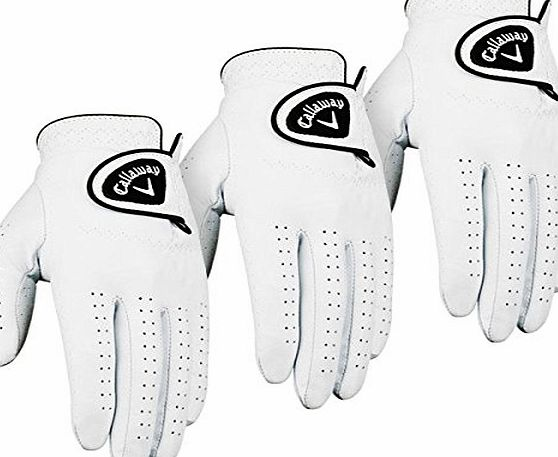 Callaway Golf 2014 Mens Dawn Patrol Leather Golf Glove LH (3 Pack) - White - S