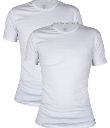 Calvin Klein - White 2 Pack Crew Neck T-Shirts - Mens - Size: L